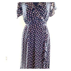 LOFT floral open shoulder dress.  Size Med Petite.